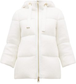 Brushed-knit Down-filled Hooded Coat - Womens - Ivory