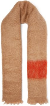 Colour Block Mohair Blend Scarf - Womens - Red