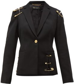 Safety Pin Single Breasted Wool Blazer - Womens - Black