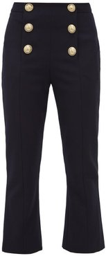 Buttoned Kick Flare Wool Twill Trousers - Womens - Navy