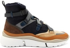 Sonnie Raised-sole Suede And Shearling Trainers - Womens - Navy Multi