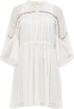Embellished Plissé Silk Chiffon Mini Dress - Womens - Ivory