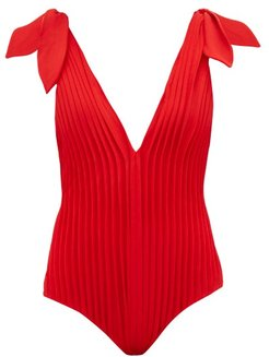 Pleated V-neck Jersey Swimsuit - Womens - Red