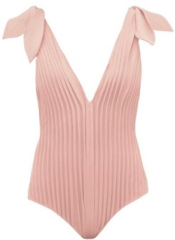 Pleated V-neck Jersey Swimsuit - Womens - Pink