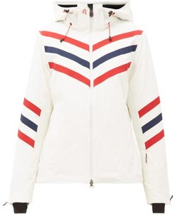 Chevron Striped Technical Ski Jacket - Womens - White