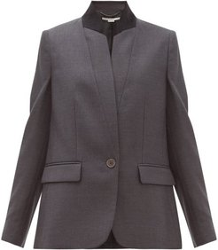Fleur Single Breasted Wool Jacket - Womens - Grey