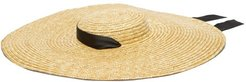 Grosgrain Tie Wide Brim Straw Hat - Womens - Beige