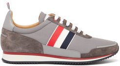 Tricolour-striped Suede & Canvas Trainers - Mens - Grey