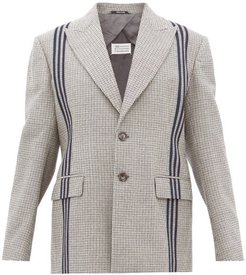Striped Single Breasted Houndstooth Wool Jacket - Womens - Grey Multi