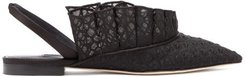 Odette Embroidered-ruffle Slingback Sandals - Womens - Black