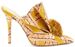Antoinette Pom Pom Brocade Mules - Womens - Yellow Multi