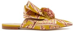 Rebecca Pompom Brocade Mules - Womens - Yellow Multi