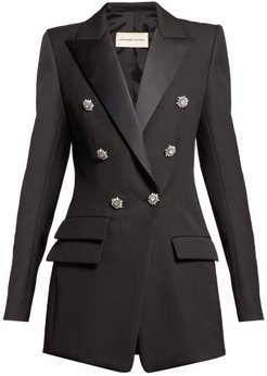 Crystal Button Double Breasted Wool Blazer - Womens - Black