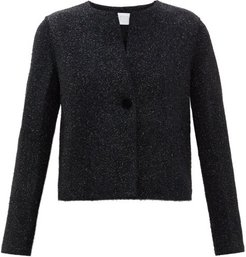 Velvet-button Tinsel Jacket - Womens - Dark Navy