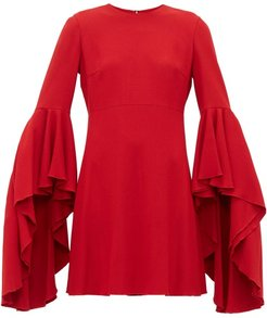 Fluted-cuff Crepe Dress - Womens - Red
