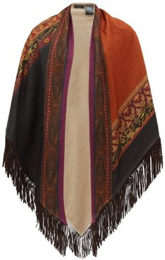 Suede Fringed Printed Cashmere Poncho Wrap - Womens - Multi