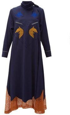 Tie-neck Embroidered Midi Dress - Womens - Navy