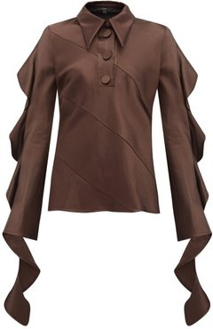 Obsessed Panelled Ruffled Satin Blouse - Womens - Dark Brown