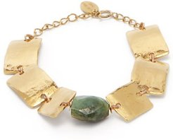Thira Emerald Gold Plated Bracelet - Womens - Gold