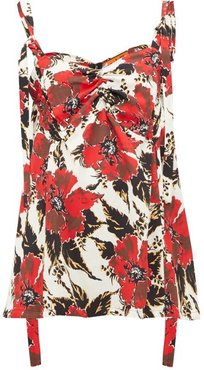 Shirred Floral Print Crepe Camisole - Womens - Red
