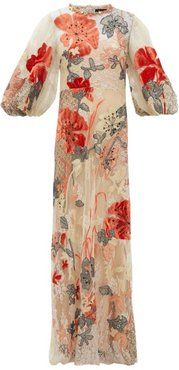 Iska Embroidered Patchwork Lace Gown - Womens - Nude Multi