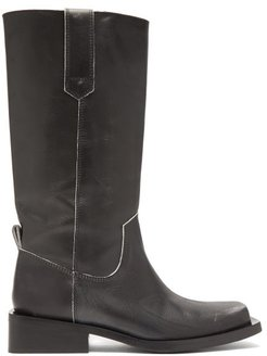 Mc Distressed Leather Western Boots - Womens - Black