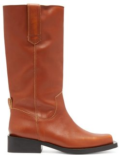Mc Distressed Leather Western Boots - Womens - Tan