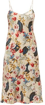 Jadi Floral-print Silk-blend Satin Slip Dress - Womens - Nude Multi