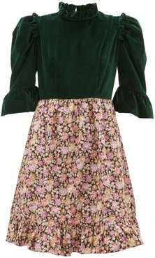Floral-print Cotton-canvas And Velvet Dress - Womens - Green