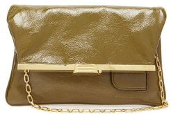 Pm Fold Over Leather Clutch Bag - Womens - Khaki