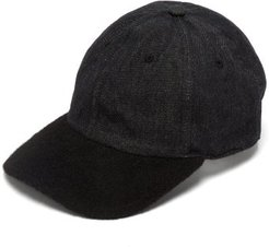 Denim And Wool Baseball Cap - Womens - Black Grey