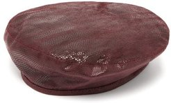 Lizard Effect Suede Beret - Womens - Burgundy