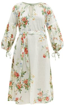 Old Rose Floral Print Cotton Dress - Womens - Multi