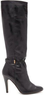 Leather Knee Boots - Womens - Black