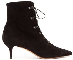 Lace Up Suede Ankle Boots - Womens - Black