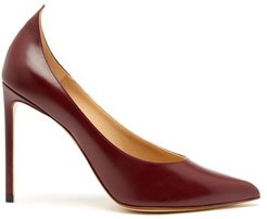Point Toe Leather Pumps - Womens - Burgundy