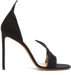 Pointed Upper Lace And Leather Sandals - Womens - Black
