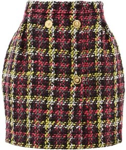 Bouclé Wool-blend Mini Skirt - Womens - Pink Multi
