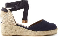 Carina 30 Canvas & Jute Espadrille Wedges - Womens - Navy