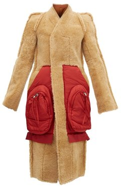 Patch-pocket Single-breasted Shearling Coat - Womens - Tan Red