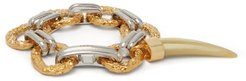 Resin Tooth Two Tone Charm Bracelet - Womens - Gold
