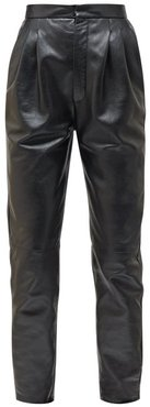 High-rise Tapered Grained-leather Trousers - Womens - Black
