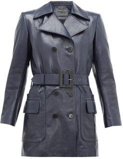 Double-breasted Belted Leather Coat - Womens - Navy