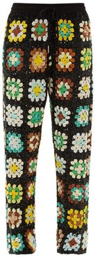 Elasticated Waist Sequinned Trousers - Womens - Green Multi
