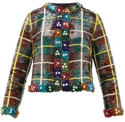 Sequinned Checked Jacket - Womens - Green Multi
