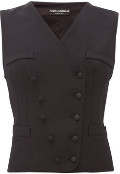 Double-breasted Wool-blend Twill Waistcoat - Womens - Black