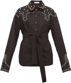 Studded Cotton Twill Belted Overshirt - Womens - Black