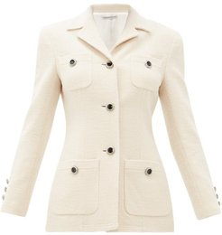 Chain-button Tailored Wool-blend Jacket - Womens - Ivory