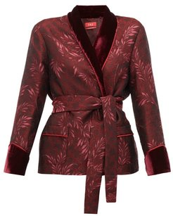 Plutone Velvet Trim Jacquard Wrap Jacket - Womens - Burgundy