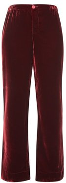 Etere Velvet Straight Leg Trousers - Womens - Burgundy